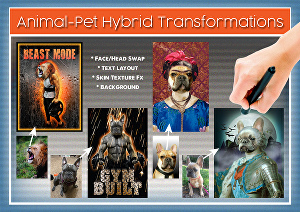 I will photoshop edit your pet portrait, or Animal hybrid photo transformations