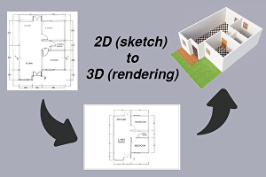 I will Make your 2D Sketch into 3D Rendering Floor Plan Within 2 days
