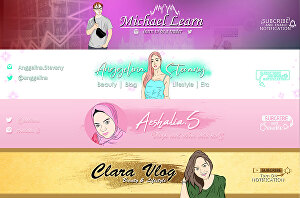 I will design an amazing podcast youtube banner with your cartoon avatar
