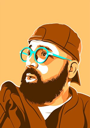 I will draw a simple limited colors vector portrait