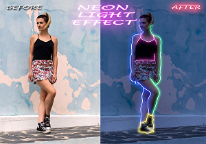 I will do neon light effect on your picture