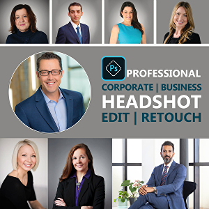 I will do professional headshot retouching on your corporate business portraits
