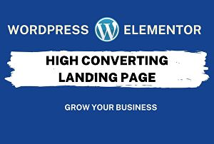 I will Design a WordPress landing page by elementor pro