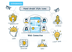I will create hand drawn icons for you