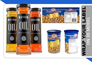 I will do wrap of your label on 3d bottle, can, jar and rendering