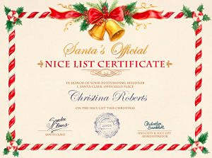 I will create a Santa Nice List Certificate with whatever name you want
